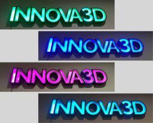 Letrero luminoso impreso en 3D